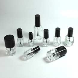 Contenitore vuoto del tubo gel online-5/10 / 15ml Vuota Smalto per unghie Bottiglia di vetro Trasparente Contenitore per gel UV portatile Rotondo Quadrato Tubo per trucco Cappuccio per pennello