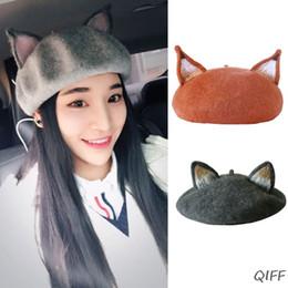 Katze barett frauen online-Frauen-Mädchen-Retro Beret Cap Nette Katze-3D spitzen Ohren Faux Filz Painter Hut