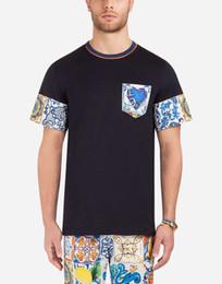 T-shirts pour hommes en Ligne-Logo populaire printemps / été nouveau T-shirt à imprimé numérique monochrome en porcelaine bleue et blanche pour hommes