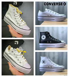 Tacón blanco zapatos mujeres online-2019 Nueva Converse All Star Hi Zapatos de plataforma Moda para mujer Tacones altos Diseñador de lujo Zapatillas de deporte Casual Chuck Skateboard blanco 35-40