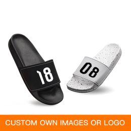 2019 pantoufles de logo GieniG DIY Design Chaussures Femmes Hommes Maison Salle De Bains Pantoufles Couple Été Plat Diapositives Personnaliser LOGO pantoufles de logo pas cher
