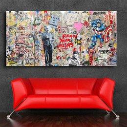 Цветочные настенные росписи онлайн-Мистер промывки мозгов Эйнштейн Mural Banksy HD Wall Art Холст Плакаты Отпечатки Живопись Настенные Панно Для Офиса Гостиная Home Decor