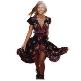 vestidos de verano étnicos para mujer Rebajas Para mujer vestidos de las mujeres Ropa de diseño 2019 vestido de verano de Boho atractivas étnicas playa de la impresión de la vendimia de los vestidos del traje Vestidos de verano del Hippie