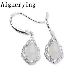 Orecchini di giada naturale online-Orecchini in argento 925 naturale con orecchini in argento sterling 925 naturali per orecchini da donna. Confezione regalo