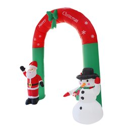 pompe di illuminazione Sconti 2.4M Giant Santa Claus Snowman Inflatable Arch Garden Yard Archway LED Light with Pump Christmas Halloween Props Party Blow Up