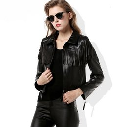 motorcycle goods Promo Codes - Motorcycle style Tassel women short Faux Leather PU jackets coats autumn new fashion good quality female PU jackets gx1226