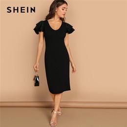 5bfccda3ca3 vente en gros noir manches à volants palier ajusté à volants encolure  dégagée manches courtes gaine robe femmes automne moderne dame robe de  soirée