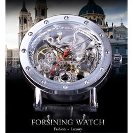forsining relojes automáticos Rebajas Forsining Business Relojes automáticos para hombres Esqueleto de plata Relojes mecánicos Puntero negro Reloj de correa de cuero genuino SLZe136