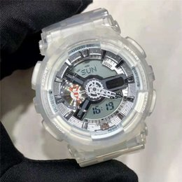 digital unisex luxury watches Promo Codes - G Style Shock Unisex Watches Wholesale Luxury All Functions Work WristWatches Waterproof Transparent Sport LED Digital Sport Men's Watches