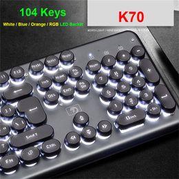 rii мини-беспроводная клавиатура dhl Скидка Ретро Круглый Проводная клавиатура USB для компьютера ПК Gaming Проводной Punk Клавиатуры для ноутбуков Tablet Mouse Клавиатуры