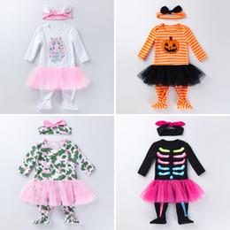 Monos negros de diseñador online-Monos de conejo de Pascua de Navidad recién nacidos de Halloween Monos de calabaza infantil Esqueleto negro Monos de manga larga Ropa de diseñador infantil para bebés