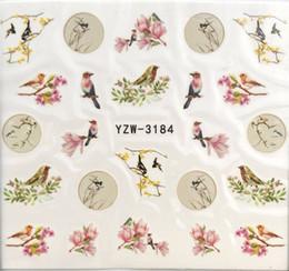 Decorazioni di uccelli rossi online-1 Pz Uccello / fiore Water Transfer Nail Art Sticker Bellezza Red Maple Leaf Decal Nails Art Decorazioni