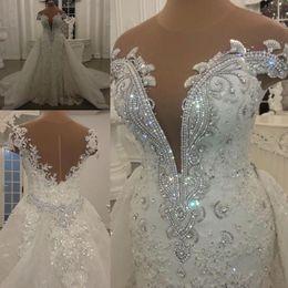 robes de mariée briller Promotion Robes de mariée sirène modestes avec jupe amovible paillettes brillantes cristaux perles Appliques pure cou dos nu longues robes de mariée BC0862