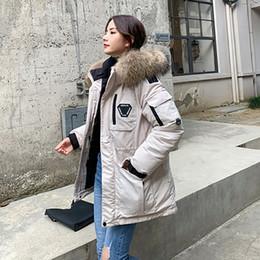 Veste d hiver de femme coréenne Running Man Bas Coton rembourré Manteau Femme long vrai fourrure de raton laveur Parka Outwear femme L541 manteau
