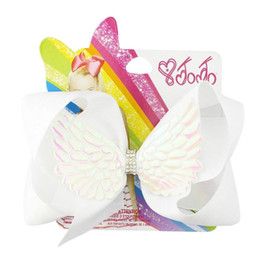 Jojo new 20 color angel wings bow hairpin forcina per bambini 6 pollici con diamante accessori per capelli carta di carta cheap angel cards da carte angelo fornitori