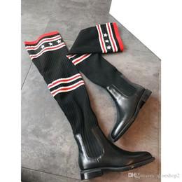 botas por encima de la rodilla Rebajas Cuero real Otoño Invierno sobre la rodilla Botas largas Diseñador de estrella Calcetines elásticos Kelly Botas rectas Tamaño 35-40