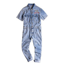 025e9827e51 Summer Denim Overall with Short Sleeve Jacket Single Breasted Work Suit  Male Loose Long Jeans Jumpsuit Men s Bib Overalls Jeans