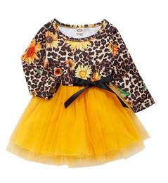 vestidos de impressão de leopardo para crianças Desconto 2019 Nova Bebés Meninas Princess Dress Crianças Leopard Sun Flower Imprimir mangas compridas Bow retalhos de malha Tutu Vestidos Primavera Crianças Conjuntos M545