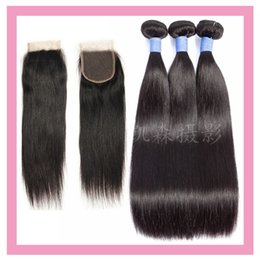 malaysian products Coupons - Malaysian Human Hair Extensions 8-30inch 3 Bundles With 4*4 Lace Closure With Baby Hair Middle Three Free Part Straight Hair Products