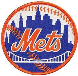 Gestickte patch-logos online-New York aufgenäht Mets Baseball Front Brust Team Logo Embroidered Patch bages benutzerdefinierte Stil Patches