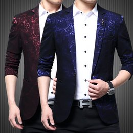 2019 vestito blu da promenade collare nero Luxury Party Prom Blazer Shinny Yarn Vino Rosso Blu Nero Abito colletto a contrasto Dinner Blazer Homme Slim Fit Suit Coat Jacket sconti vestito blu da promenade collare nero