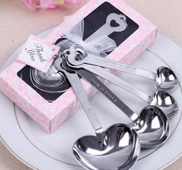 Deutschland Freie Shipping + Wholesale Herz-geformte Messlöffel stellten Hochzeitsbevorzugungen LIEBE neues 4pcs / set für jeden Geschenkkasten, 300sets / lot ein Versorgung