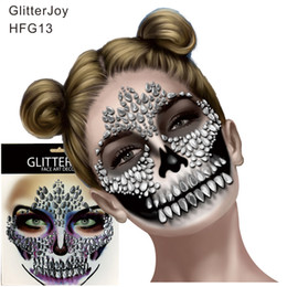 Ювелирное искусство онлайн-HFG13 Festival Skull Bone Face Jewel с наклейкой для макияжа зубов для карнавального ночного клубного макияжа Body Art