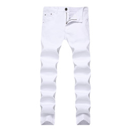 Белые брюки пота мужчины онлайн-Mens Jeans Stretch Skinny Slim Color Denim Chino Pants For Men Casual Jeans Pants Men Sweat Clothes Khaki Black Red White