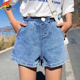 calça branca de perna larga Desconto Streetwear Verão Mulheres Denim Shorts Nova Chegada de Alta Elastic Cintura Calças de Perna Larga Jeans Preto Azul Branco Rosa Curto Femme