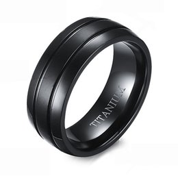 comfort fit rings Promo Codes - 8MM Busic Mens Double Lines Titanium Steel Wedding Band Ring Well Finished Comfort Fit