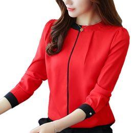 Manica lunga in camicia chiffona rossa online-2018 Womens Red camicette Moda Autunno Inverno chiffon T-shirt manica lunga OL femminile Blusas signore dell'ufficio cime bianche camicetta D18103104