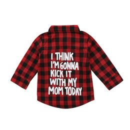 2-7T Children Kids Baby Boys Girls Printed Plaid Long Sleeve Tops Shirt T-shirt Casual Clothes от Поставщики красная одежда