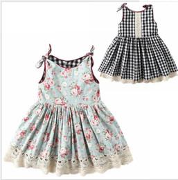Imprima os dois lados on-line-Meninas verão vestido bonito flor imprimir ambos os lados do vestido Do Bebê meninas vestido bonito vestidos de festa Meninas Usam Saias sem mangas KKA6789