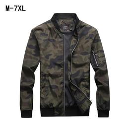 Mens casaco tamanho 7xl on-line-Casacos de Camuflagem dos homens do outono Casacos Masculinos Camo Bomber Jacket Mens Outwear Gola Zipper Up Plus Size M-7XL