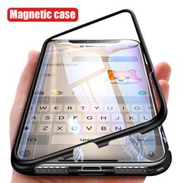 2019 carte de crédit moto 360 cas d'adsorption magnétique pour iPhone XR XS MAX X 8 7 6S Plus pare-chocs en métal + dos en verre trempé aimant couverture cas