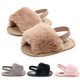 Sandálias de tira elástica on-line-Menina do bebê desliza sandálias com pele infantil Chinelos de pele furry shoes criança com Elastic Back Strap Flats sapatos em casa