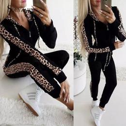 fatos de treino de leopardo preto Desconto Moda Sportwear Leopard Print Mulheres Treino Two Piece Set Hoodie Outono Hoodies top e calça de Streetwear Preto Roupas brancas