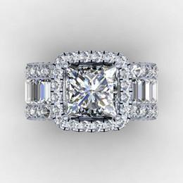 Banda de compromiso de diamantes online-Corte anillo de los amantes de la vendimia 3ct diamante 925 anillo de compromiso anillo de bodas de plata de ley para los hombres de las mujeres regalo de la joyería de dedo