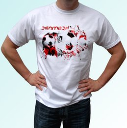 9ede88771524e casual football style Canada - Denmark football flag white t shirt soccer  style design mens womens
