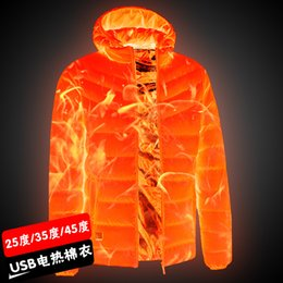 Cappotto termico lungo online-2019 NUOVI uomini riscaldata giacche outdoor Coat USB della batteria elettrica a maniche lunghe con cappuccio del rivestimento termico caldo inverno indumenti termici