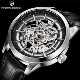 скелетные часы водонепроницаемые Скидка PAGANI DESIGN  Men's Business Mechanical Watch Leather Skeleton Hollow Clock Waterproof Men's Automatic Mechanical Watch