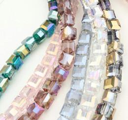 2019 glaswürfelperlen CHeapest 100PCS CUBE SQUARE Kristall AB GLAS Lose Distanzscheibe PERLEN DIY SCHMUCK HERSTELLUNG 4 MM 6 MM 8 MM 10 MM rabatt glaswürfelperlen