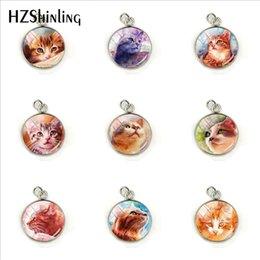 pinturas de gatitos Rebajas Gatos encantadores Pinturas de gatitos Pequeños Colgantes de cúpula de cristal redondos Gatos naranjas lindos Pintura de gatitos Joyas Encantos Colgantes Regalos