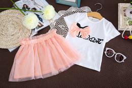 ropa de hip hop para niños al por mayor Rebajas nueva marca traje de verano para niños camiseta con lazo + traje de falda de gasa blanca traje de manga corta para niños
