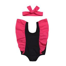 Дети летняя одежда плавать онлайн-Купальники для девочек детский купальный костюм One Pieces детский с рюшами и рукавами Купальник с повязкой на голову детская одежда для плавания 2019 Летняя детская одежда C6360