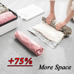 storage bags vacuum seal Coupons - Hand Rolling Vacuum Compression Bag Border Foldable Compressed Storage Pouch Travel Clothes Storage Bag Space Saving Seal Bags DBC VF1552