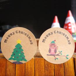 Presente do natal da coruja bolsa de lona on-line-120pcs Xmas redonda Paper Christmas Tree Owl Pattern Etiqueta do selo para Handmade Baking Wrapper Food Gift Bag Decoração Acessório SH190918