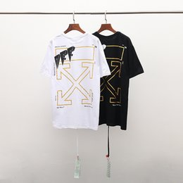 2019 abbigliamento sconti L'estate 2019 la maglietta bianca di modo della maglietta della stampa della punta della freccia della maglietta del progettista del tè del progettista del tè del top 100% grande è dimensione europea è abbigliamento sconti economici