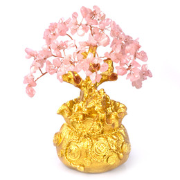 Suerte feng shui online-Mini Crystal dinero árbol Bonsai Estilo Riqueza Suerte Feng Shui traen riqueza suerte decoración del hogar del regalo de cumpleaños
