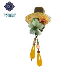 Goldhaarclip-troddel online-Ethnische Fan Shell Lampwork Blume Wassertropfen Quaste Haarnadel Clip für Frauen Harz Blume Wassertropfen Quaste Haarschmuck FJ-18020